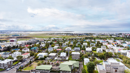 aerial view of Reykjavik city in autumn