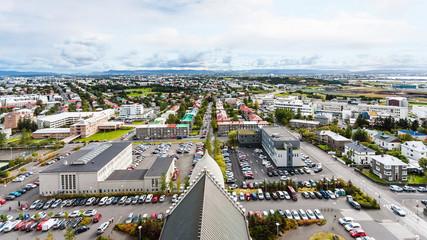 aerial view of Leifsgata street in Reykjavik