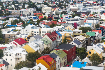 above view of residential houses in Reykjavik