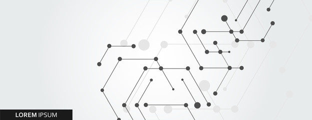 Geometric hexagon connect with connected line and dots. Simple technology graphic background. Vector banner design Fotoväggar