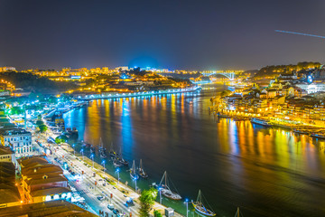 Waterfront of Porto during night, Portugal.