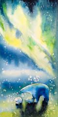 Watercolor painted picture of polar she-bear with two kids and aurora borealis in background.