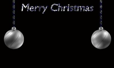 silberne Christbaumkugeln die an einer Kette hängen, mit dem Text Frohe Weihnachten auf schwarzem Hintergrund.