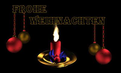 Christbaumkugeln mit brennender Kerze und Text Frohe Weihnachten in deutsch.