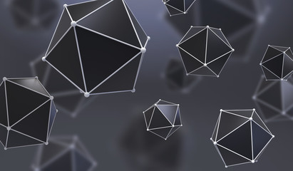 Abstract background with geometric shape from triangular faces. Chaotic composition of low poly elements. 3d render picture.