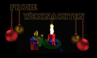 Christbaumkugeln mit Text Frohe Weihnachten, Adventskranz und Geschenken.