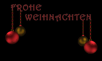 Christbaumkugeln mit Text Frohe Weihnachten in deutsch.