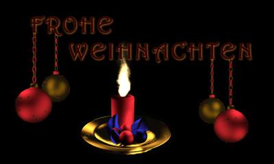 Christbaumkugeln mit Text Frohe Weihnachten in deutsch und brennender Kerze.
