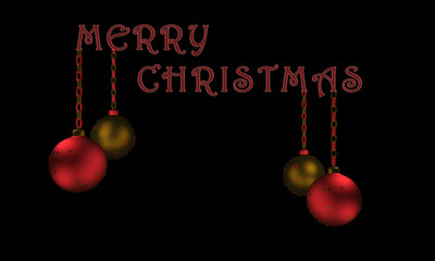Christbaumkugeln mit Text Frohe Weihnachten in englisch.