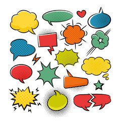 Comic speech bubbles pop art set