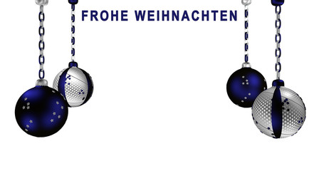 Christbaumkugeln in silber  und blau mit brennender Kerze und Text frohe Weihnachten in deutsch.