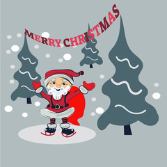 Santa Claus Cartoon Character in forest Vector Illustration