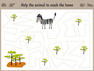 Cartoon illustration of education. Matching game for preschoolers to hold the animal the Zebra home to sovanna. All pictures are isolated on white background. Vector