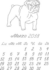 Creative vector free hand drawn doodle monthly spanish calendar template for year 2018 with illustration of different dogs pedigrees. Lettering, typeface. March, bulldog. Editable.