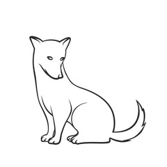 Dog. Contour on a white background. Vector element for New Year`s design.
