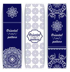 Set of vertical banners with oriental ornaments