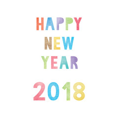 Colorful watercolor on happy new year 2018 text