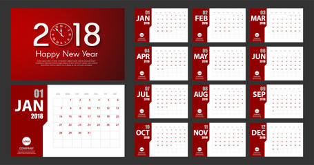 2018 New Year calendar simple modern style. Red and white. Event planner. All size. Vector illustration