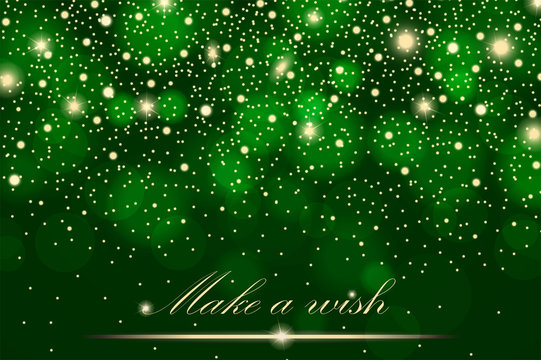 Vector gold glitter particles background effect for luxury greeting rich card. Sparkling texture. Star dust sparks in explosion on green background. Vector illustration