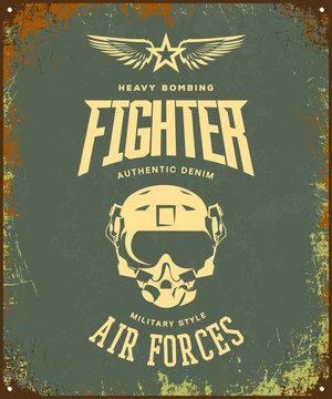 Vintage fighter pilot helmet vector logo isolated on khaki background.