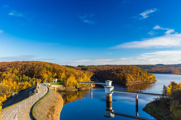 View of Gileppe Dam, an arch-gravity dam and its two 2.8m wells on the Gileppe river in Jalhay, Liege province, Wallonia, Belgium