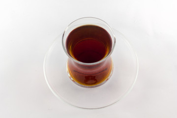 Traditional Turkish tea in thin glass