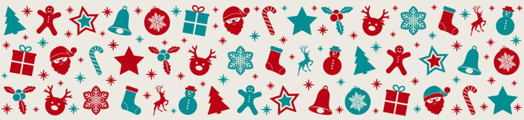 Panoramic banner with red and green Christmas icons. Vector.