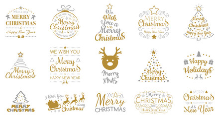 Merry Christmas - collection of icons with decorations and greetings. Vector.