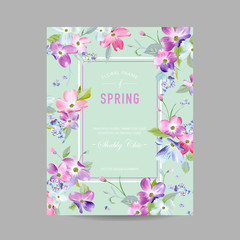 Blooming Spring and Summer Floral Frame. Watercolor Dogwood Flowers for Invitation, Wedding, Baby Shower Card in Vector