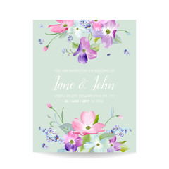 Wedding Invitation Template with Spring Dogwood Flowers. Romantic Floral Save the Date Greeting Card for Celebration. Watercolor Botanical Design. Vector illustration