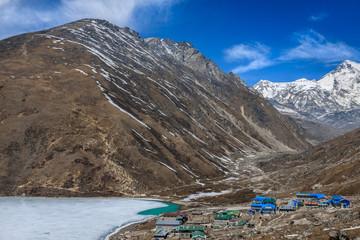 Himalayan landscape at sunny day. Gokyo, lake Dudh Pokhari, peak