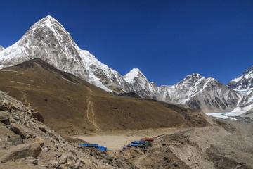 Gorak Shep village, mountains Kala Patthar and Pumo Ri. Everest
