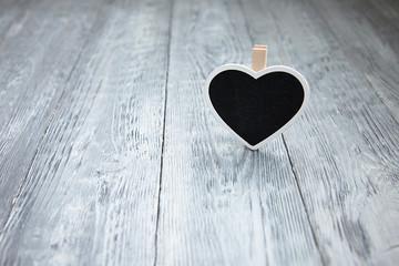 little heart a wooden gray background
