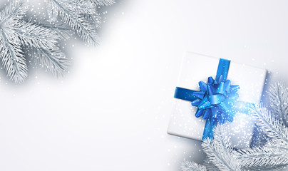 White New Year background with gift.