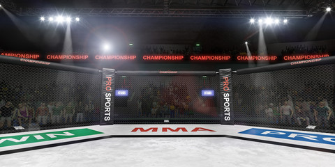 mma fighting stage side view under lights 3d rendering
