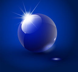 Glass sphere, blue 3D vector ball. Vector illustration. 10 EPS