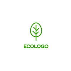 Logo green tree, ecology, health symbol, environmentally friendly product, symbol of quality