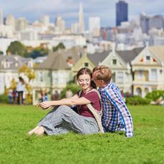Couple having a date in San Francisco, California, USA