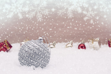 Christmas background with decorations and snow