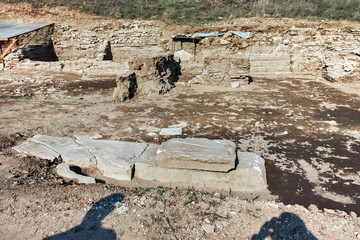 Ruins of ancient city Heraclea Sintica - built by Philip II of Macedon,  located near village of Rupite, Bulgaria