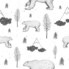 Vector seamless pattern with polar bear in forest. Hand drawn illustration with arctic animals and firs. Winter background. New Year and Christmas texture