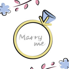 Vector illustration with wedding ring on white background and floral elements