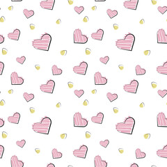 Vector seamless pattern of plane elements. Romance, love, wedding