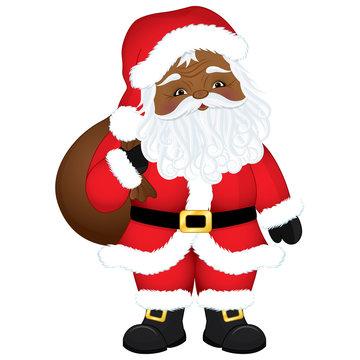 Vector Cute Cartoon African American Santa Claus with Sack