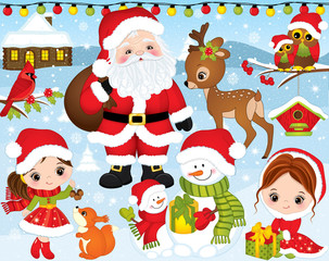 Vector Christmas and New Year Set with Santa, Little Girls, Deer, Owls and Winter Elements