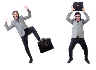 Young businessman in gray suit holding briefcase isolated on whi