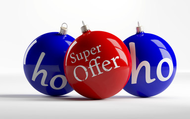 """Christmas baubles with inscription """"Super Offer"""""""