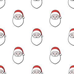 Seamless vector illustration. Pattern with Heads of Santa Claus on white background. Spirit of Christmas. Drawing with contour