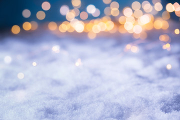Christmas Bokeh Background with Golden Lights