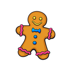 Vector illustration. Christmas cookies Gingerbread man. Tradition New year biscuit ginger man. Cartoon with contour. Isolated on white background. Decoration for prints, greeting cards, wallpapers